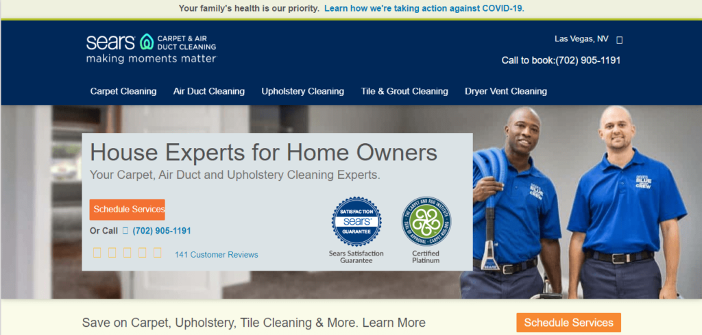 Sears Carpet Cleaning & Air Duct Cleaning's Homepage