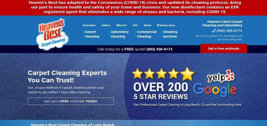 Heaven's Best Carpet Cleaning's Homepage